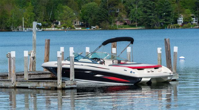 A boat tied off at the Center Harbor Inn's docks on Lake Winnipesaukee.