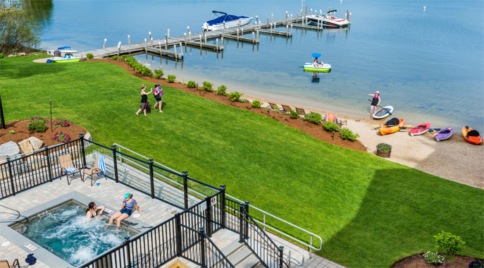 A view of the waterfront amenities and beach on Lake Winnipesaukee.