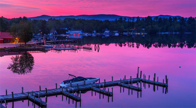A sunrise looking over the docks at the Center Harbor Inn.